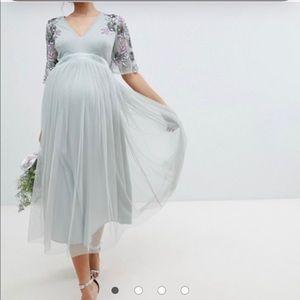 ASOS Maya Maternity Beaded Tulle Sage Midi Dress